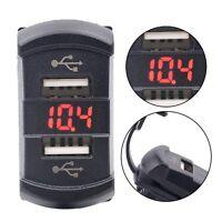 12V Car Boat Dual Port USB Charger Socket Red LED Voltmeter Rocker Switch Panel