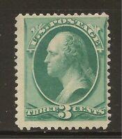1879 SC #184 3 cent Washington Unused OG LH DG - F - CV $90.00 (42831)