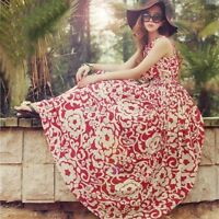 Women Ladies Chiffon Boho Beach Maxi Dress Sleeveless Pleated Long Sundress EA