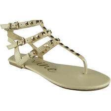 Womens Ladies Studded Strappy Toe-Post Shoes Summer Gladiator Sandals Flats Size