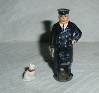 """Johillco (John Hill) Vintage Lead """"Station Master With Cat"""" EX Cond. Free Ship"""