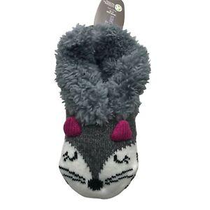 Secret Treasures Women's Faux Fur Critter Slipper Sock Gray/White Cat 4-10 New