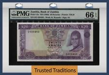 "TT PK 13c 1969 ZAMBIA 20 KWACHA ""PRESIDENT K. KAUNDA"" PMG 66 EPQ GEM UNC."