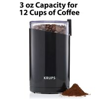 Krups F203 Electric Spice Coffee Grinder Stainless Steel Blades Black