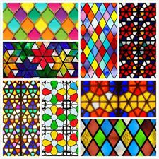 Self-adhesive Stained Glass Art Stickers Retro Church Opaque Window Films Decor