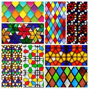 Self-adhesive Stained Glass Stickers Church Opaque Window Film Home Decor Retro