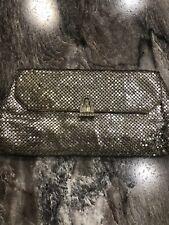 Vintage Mesh Silver Purse Evening Bag Rhinestone Clasp Clutch