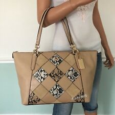 76ed86fbdab7 COACH Leather Patchwork Zip Tote Shoulder Bag Purse in Beechwood Multi