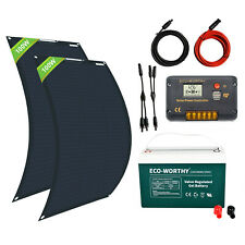 100W 200W Watt 12V Flexible Solar Panel Kit 50AH 100AH RV Marine Battery Charge