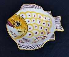 Vietri Solimene Fish Bowl Plate Hand Painted Made In Italy Pink Yellow 10""