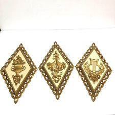 Vintage Set Of 3 Homco Diamond Gold Wall Hanging Plaques Harp Topiary Flower