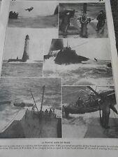 La Famine dans un Phare le phare de Wolf Rock Courageux Marins Old Print 1912