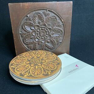Set of 13 Papyrus Blank Round Cards Envelopes In Carved Wood Box
