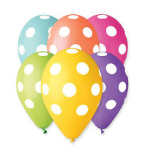"Balloon Polka Dot Print 30cm-12"" Assorted Colours 10pcs PREMIUM QUALITY"