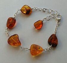 Bracciale in argento 925 con sassi in ambra amber del baltico naturale