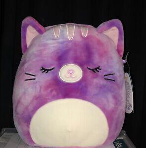"NWT Squishmallows Kellytoy Summer 8"" CAELI Tie Dye Cat Kitten Sleepy Eyed Plush"
