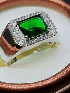 Millionaire chunky green Emerald  quartz 925 stiling silver sf mens ring size 10