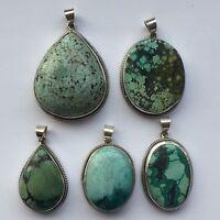 925 Sterling Silver Tibetan Turquoise Pendant Handmade