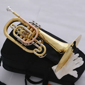 Professional New Gold Marching Mellophone F Key Monel Valves With Case