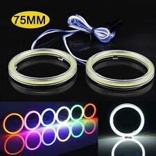 75MM White COB Angel Eyes LED SMD Halo Ring Fog DRL Light Bulb With Lampshades