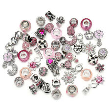 10pcs Mixed Pink Crystal Glass Beads, Crystal Alloy BEADS Fit Charm Bracelet