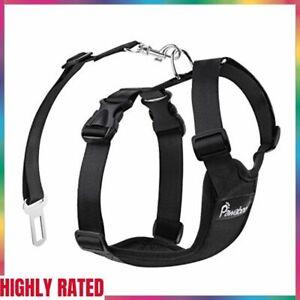 VEST HARNESS Dog Safety Pet Vehicle Seat Belt Adjustable Medium Black PAWABOO
