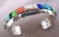 Navajo Multi-Stone Chunk Inlay & Sterling Cuff Bracelet  Steve Francisco JB0026