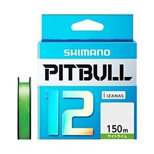 """NEW"""" Shimano Pitbull X12 Lime Green 150m 23.4lb/10.6kg #1.0 Braided PE Line"""