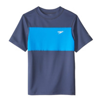 Speedo Boys Color Block Swim Tee, Blue, Boys Medium