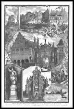 Bückeburg. 8 Ansichten von der Umgebung auf 1 Blatt. Original Holzstich von 1886