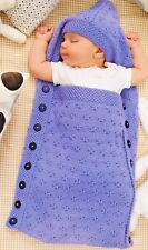 BUTTERFLY STITCH BABY SLEEPING BAG/COCOON WITH HOOD 0-3 MONTHS KNITTING PATTERN