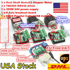 【USA】 3 Axis Nema23 Stepper Motor Dual Shaft 76mm 270oz-in+TB6560 Driver CNC Kit