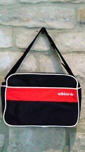 ADIDAS ORIGINALS Messenger Bag Black Red Canvas Great Condition!