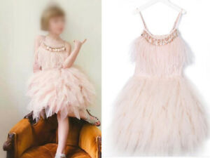 Girls Flower/Bridesmaid/Party/Prom/Wedding/Christening beads feather Dresses