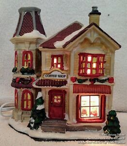 NEW Lighted HOUSE CHRISTMAS DISPLAY WINTER VILLAGE LOCAL COFFEE SHOP HOUSE