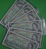 Six  -  Uncirculated  -  Consecutive  - 1967   $1.00  Canadian Banknotes