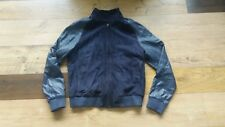 Topman Mens Navy Blue Real Genuine Suede & Leather Biker Bomber Jacket - Medium