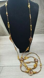 Orange and Bronze coloured Beads w/ Art Glass beads Long Flapper Style Necklace