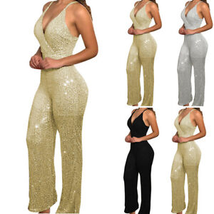 Women Glitter Sequin Strappy V Neck Jumpsuit Ladies Cocktail Party Club Playsuit