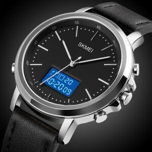 Men's Dual Time Electronic Business Wristwatch Fashion Digital Analogue Watches