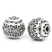 New: 10 Antiksilber Hohle Gravur Muster Spacer Perlen Beads 11x10mm