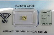 Diamant Jaune Princesse de 0,71 carats Fancy Light Yellow certifié IGI I1