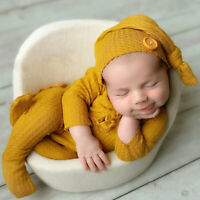 Newborn Baby Knitted Clothes Costume Cap Hat Set Bodysuit Photography Photo Prop
