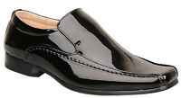 Mens New Slip On Black Leather Lined Patent Wedding Shoes Size 6 7 8 9 10 11 12