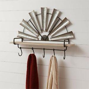 Windmill Wall Shelf with Hooks in Distressed Metal