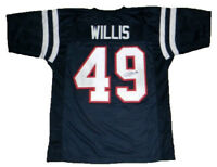 PATRICK WILLIS AUTOGRAPHED SIGNED MISSISSIPPI OLE MISS REBELS #49 NAVY JERSEY