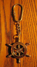RMS TITANIC Polished Brass SHIP'S WHEEL Keychain.   New!