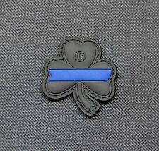 Thin Blue Line Clover PVC Patch Police Morale Lucky Irish LEO VELCRO® Brand