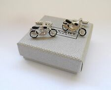 """TRADITIONAL MOTOR BIKE"" Black & Silver Style Metal CUFF LINKS in a GIFT BOX-NEW"