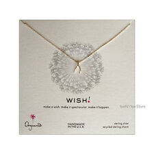 """Dogeared Sterling Silver Wishbone Charm WISH Necklace 18"""" S. Silver Chain NEW"""